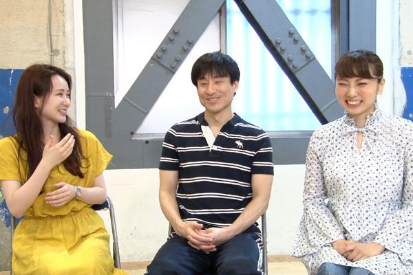 あかりけした 舞台「手をつなぐには近すぎる」左から小野川晶、なだぎ武、渡邊安理