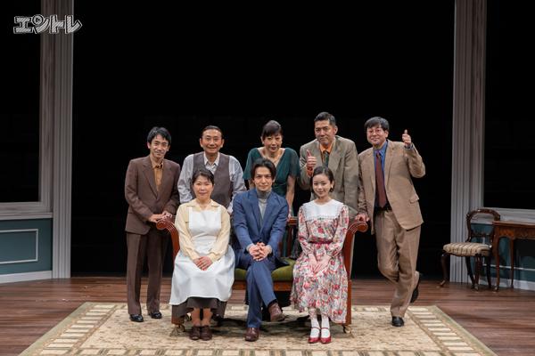 シス・カンパニー公演『ほんとうのハウンド警部』出演者集合写真 撮影・加藤孝